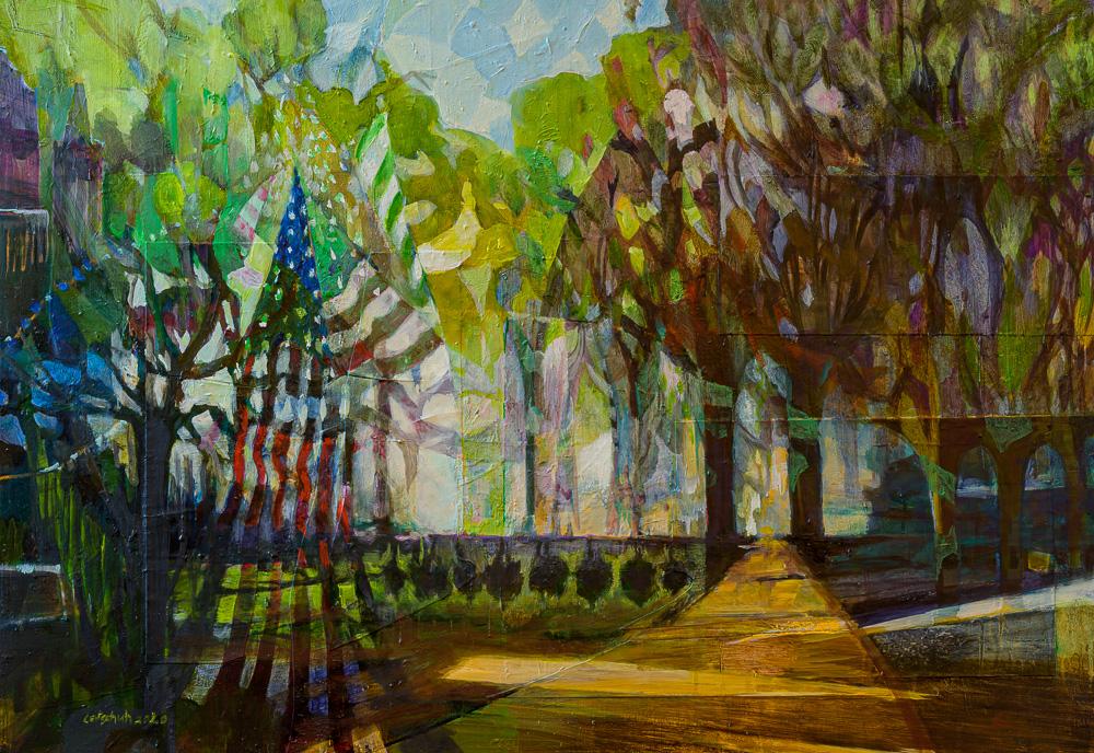 Flaggenbäume im Park